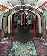 Broken glass on Tube train
