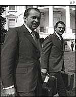 Former President Nixon, left, with his presidential press secretary, Ron Ziegler, in 1970