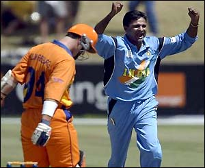 Javagal Srinatrh celebrates his 300th ODI wicket, Netherland's Jan Feiko Kloppenburg