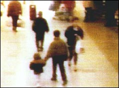 CCTV footage of James Bulger being led away by older boy