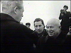Khrushchev greets Macmillan on his arrival in the USSR - 22 Feb 1959