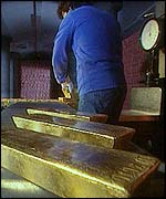 Weighing gold bars
