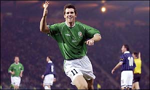 Kevon Kilbane scores the Republic's first goal under new coach Brian Kerr