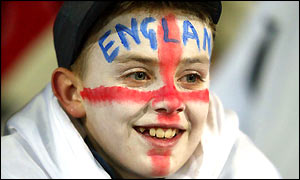 An England fan looks on