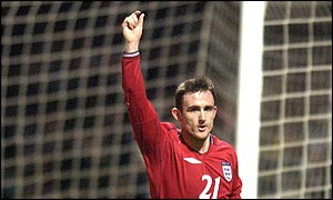 Jeffers celebrates scoring for England