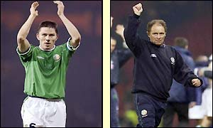 Holland and Kerr salute the Hampden Park crowd after their win