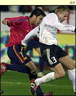 Spain's Raul chases Germany's Tobias Rau