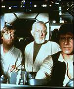 (l-r) Luke Skywalker, Obi-Wan-Kenobi and Han So