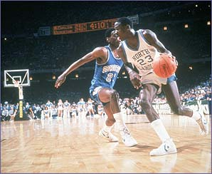 A youthful Michael Jordan in action for the his North Carolina Tarheels