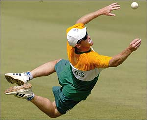 Jonty Rhodes attempts a spectacular catch during a training session