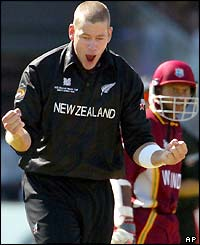 New Zealand bowler Jacob Oram shows his delight at his side's 20-run victory over the West Indies in Pool B