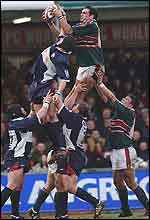 Martin Johnson wins a line-out for Leicester against Bristol