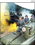 Undated handout photo acquired in Pyongyang 13 February 2003 shows the North Korean army during a military exercise