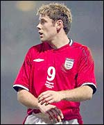 James Beattie on his international debut for England