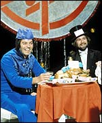Tony Blackburn with Noel Edmonds on Top of the Pops