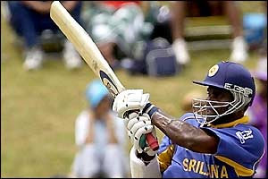 Sri Lanka captain Sanath Jayasuriya notches up the runs to help his side collect their second win of the tournament