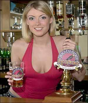 A barmaid pulls a pint of Alcofrolic in an English pub