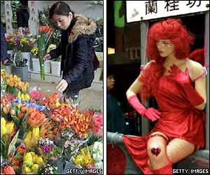 (Left picture) A woman picks flowers at a shop in Hong Kong, and (right picture) a dummy decorated with a pair of wings.