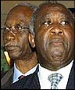 Laurent Gbagbo (r) and Seydou Diarra