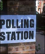 Polling station sign, BBC