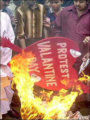 Supporters of a right-wing party in India burn a Valentine's Day placard in Calcutta.