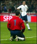 Neil Sullivan sits dejected in France