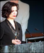 Addressing a UN coference on violence against women in 1999