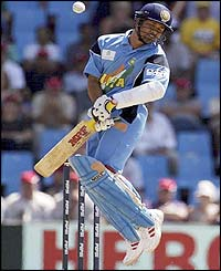 Sachin Tendulkar avoids a Glenn McGrath bouncer