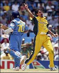 India's Sachin Tendulkar is dismissed lbw by Jason Gillespie