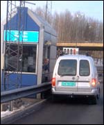 Paying at toll booth