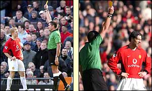 Man Utd's Paul Scholes and Ruud van Nistelrooy are shown yellow cards by referee Jeff Winter within a minute of one another