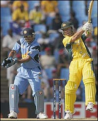 Ricky Ponting thumps the ball to the boundary