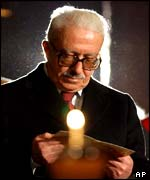 Iraq's Deputy Prime Minister Tariq Aziz at the basilica of Saint Francis of Assisi