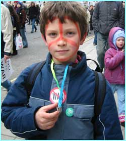 Pierre, 10, from Devon, persuaded his mum to bring him to the anti-war demo because 'I care so much about stopping war'