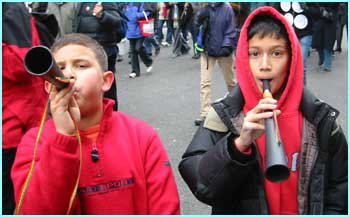Over a million people joined the anti-war march - including Saeed and Ardan, who couldn't stop blowing their trumpets!