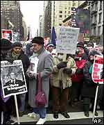Protesters holding placards in New York
