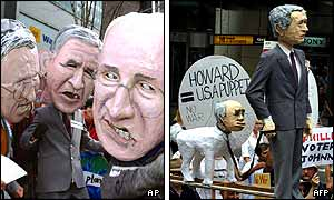 In New York, protesters carried effigies of the president and his cabinet - in Sydney the prime minister is portrayed as a US
