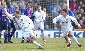 Leeds' Gary Kelly celebrates opening the scoring