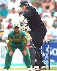 New Zealand opener Craig McMillan plays a defensive shot during his innings of 25