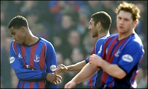 Julian Gray takes the plaudits after scoring Crystal Palace's equaliser