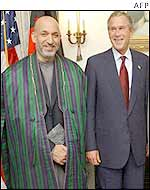 Afghan leader Hamid Karzai with President Bush in New York