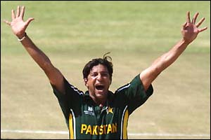 Wasim Akram celebrates another wicket