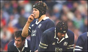 The Scotland players look dejected as they contemplate a comprehensive defeat