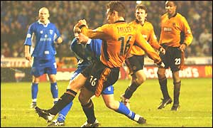 Kenny Miller scores Wolves' second goal after 79 minutes