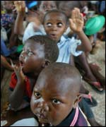 Children waiting for their food rations in Bouake