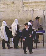 Religious Jews at the Western Wall, Jerusalem