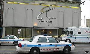 The Epitome night club with Chicago police officers in front