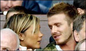 David Beckham and wife Victoria watch Man Utd take on Arsenal in May 2002