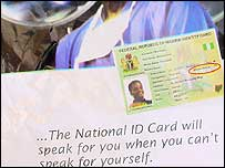 Poster advertising identity cards
