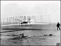 The Wright Brothers launching Flyer I